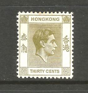 HONG KONG 1938-52 30c YELLOW/OLIVE KGVI MH  SG 151