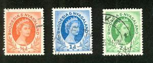 RHODESIA & NYASALAND #141b, 142,143 used (1954)