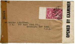 Nyasaland 1942 Limbe cancel on cover to the U.S., censored twice, EKU