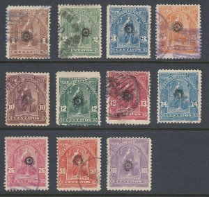 El Salvador 1899 Black Wheel Overprints Complete Set Used. Scott 213-223