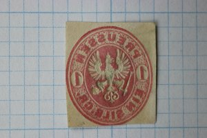 Prussia sc#17 cut square Postal Stationery EFO reverse side print ink error