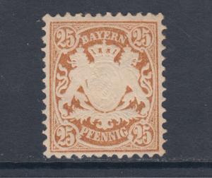 Bavaria Sc 43 MLH. 1876 25rf embossed Coat of Arms, watermark 94, VF