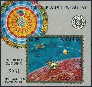 1973 Paraguay Mars Research, Planets, Viking, Sheet Nr. 209, VFMNH, CAT 40$