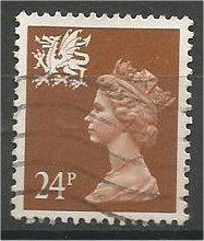 GREAT BRITAIN, WALES Machins, 1991, used 24p brown, Scott WMMH45