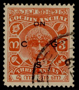 INDIAN STATES - Cochin GVI SG O56d, 3a vermilion, USED. Cat £11.