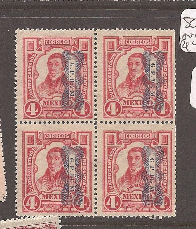 Mexico SC 520 overprint inverted in block of 4 MNH (11dco)