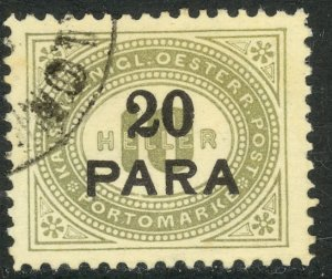 AUSTRIAN OFFICES IN TURKEY 1902 20pa on 10h Gray Green Postage Due Sc J2 CTO