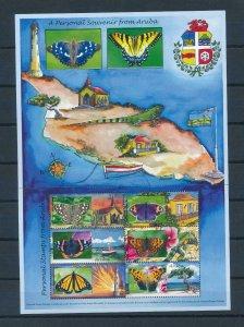 [AR468] Aruba 2009 Personal stamps Butterflies Souvenir Sheet MNH