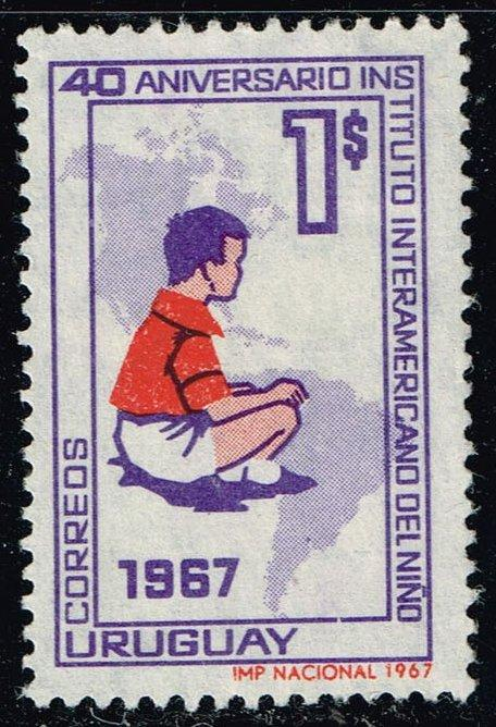 Uruguay #749 Child and Map of Americas; Used (0.25)