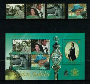 South Georgia, 2002, Queen Elizabeth, Golden Jubilee, MNH set.+ M/Sheet.