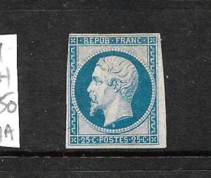 FRANCE  1852-53  25c   BLUE  MH  4 MARGINS    SG 39