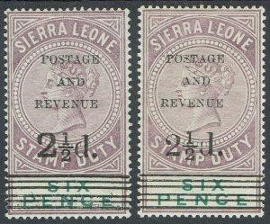 SIERRA LEONE 1897 QV POSTAGE & REVENUE 21/2D ON 6D - 2 TYPES MNH **