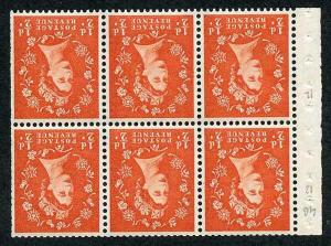 SB14a 1/2d 2nd Graphite Wmk Crowns Inverted Booklet Pane of 6 U/M