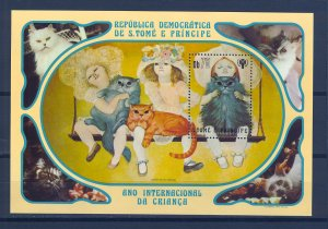 S.TOME E PRINCIPE SC# 637 GIRL WITH CAT S/S - PERF. MNH