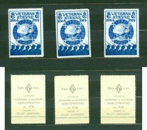 Denmark. 3 Poster Stamp MNH 1914. Veteran Reunion From 1864. Dybol Mill.