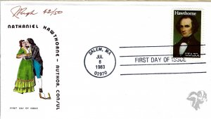 Pugh Designed/Painted Nathanial Hawthorne FDC...42 of Only 50 created!