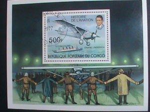 CONGO STAMP:1977 HISTORY OF AVIATION- CHARLES LINDBERGH CTO S/S SHEET