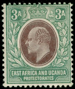 EAST AFRICA and UGANDA SG5, 3a brown-purple & green, M MINT. Cat £28. WMK CA