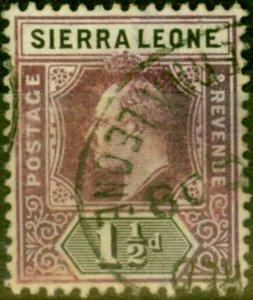 Sierra Leone 1905 1 1/2d Dull Purple & Black SG88 Fine Used Stamp