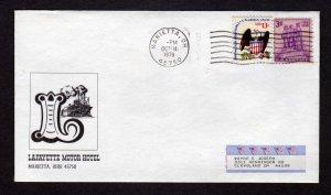 OH Lafayette Motor Hotel Marietta Ohio Stamp cover 1979 Advertising Ad