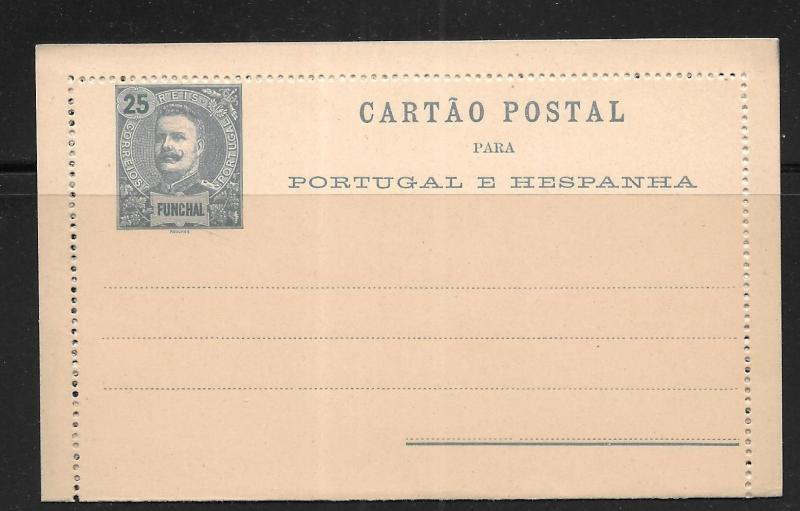 Funchal Postal Stationery Lettercard H&G 3 Mint
