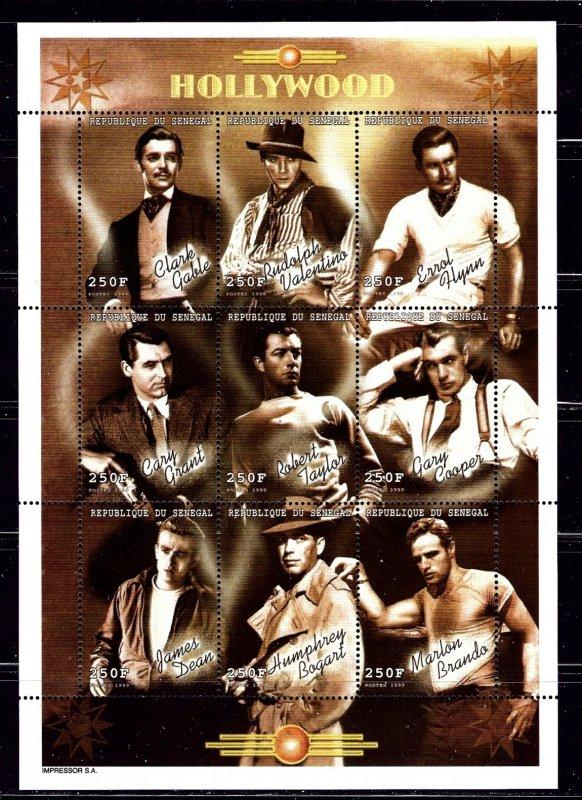 Senegal 1423 MNH 1999 Male Movie Stars  sheet of 9