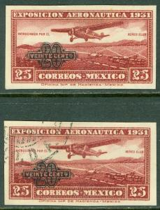 EDW1949SELL : MEXICO 1932 Scott #C45a Imperf single. VF, Mint OGH & VF, Used.