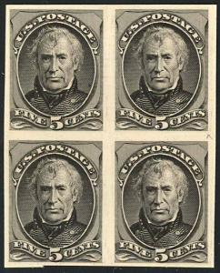179TC, 1875 TRIAL COLOR PLATE PROOF ON CARD BLOCK XF+