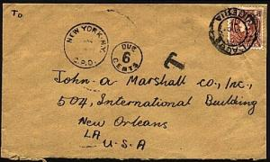 NIGERIA 1942 GVI 1½d on cover to USA - taxed - postage due marks...........70938