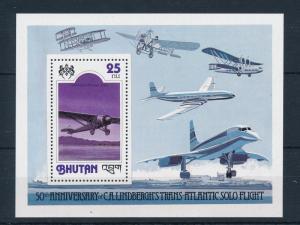 [50217] Bhutan 1978 Linkbergh Atlantic flight Souvenir sheet MNH