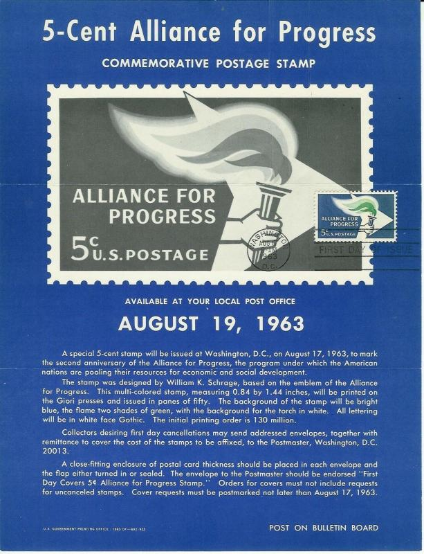 Unofficial Souvenir Page FDC First Day #1234 Alliance For Progress Folded