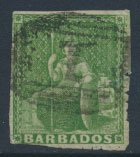 Barbados SG 13 SC# 10 Used Yellow Green partial margins see scans and details