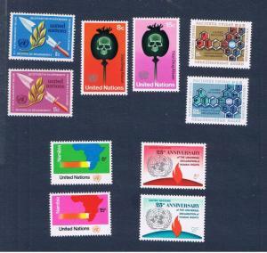 UN NY MNH OG  #234-243 1973 complete set Free S/H