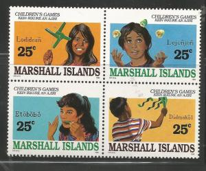 MARSHALL ISLANDS 369A  MNH, BLOCK OF 4, CHILDREN'S GAMES