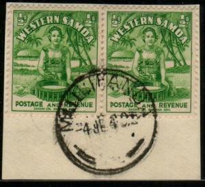 SAMOA 1940 ½d(2) on piece MULIFANUA cds....................................48589