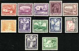 1938 - 1952 British Guiana KGVI complete set (12) MLH Sc# 230 / 241