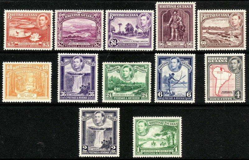 1938 - 1952 British Guiana KGVI complete set (12) MLH Sc# 230 / 241