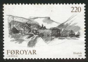 FAROE ISLANDS Scott 84 MNH** 1982 Hvalvik view
