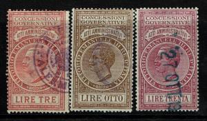 Italy 3 Atti Amministrativi 1924 Revenues, 8L very minor vert crease - S5714