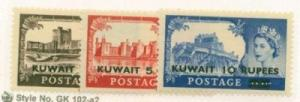 Kuwait SC# 117-19 Surcharges 1955 Castle QE II Overprint MLH