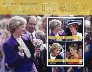 Nevis Royalty Stamps 2011 MNH Princess Diana 50th Birth Anniv 4v M/S II
