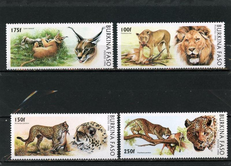 BURKINA FASO 1996 Sc#1079-1082 WILD ANIMALS SET OF 4 STAMPS MNH