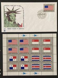 U.N. NY 1981 #362-5 Flags Sheet MNH, #362 FDC.
