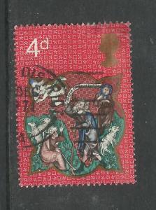 GB 1970 QE2 4d Christmas Rare Error Phos on right side SG 838 ( G429 )