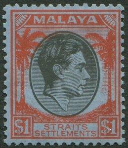 STRAITS SETTLEMENTS-1928 $1 Black & Red/Blue Sg 290 streaky/toned gum LMM V50214