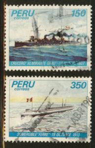 Peru  Scott 801-802 used military ship stamp set from 1983