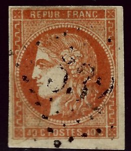 France Sc #47 Used F-VF hr SCV$115...French Stamps are Iconic!