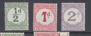 BECHUANALAND, POSTAGE DUE, 1932 ordinary paper set of 3, mnh.
