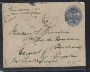 SEYCHELLES COVER (P3105B) 1906 15C TURTLE PSE USED TO FRANCE