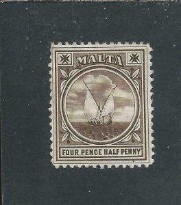 MALTA 1904-14 4½d BROWN MM SG 57 CAT £40